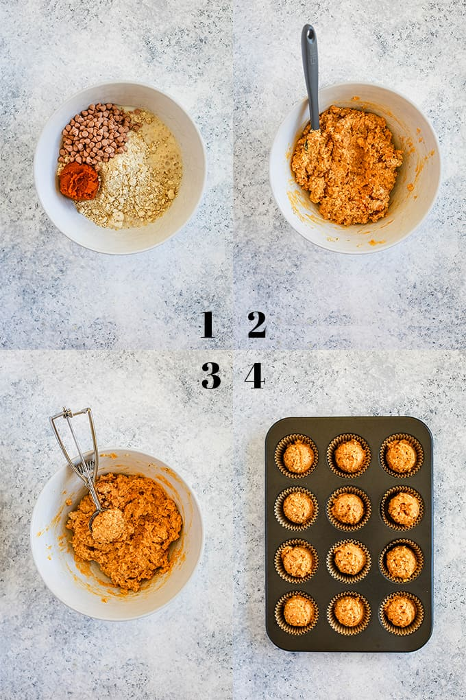 Step by step photos of how to make Pumpkin Butterscotch Oatmeal Muffins on a white speckled background.