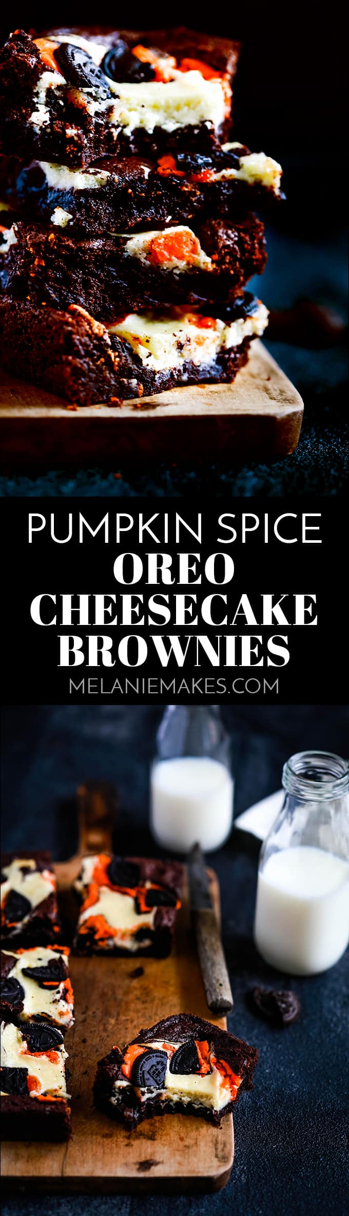 These Pumpkin Spice Oreo Cheesecake Brownies are a decadent chocolate treat with the warmth of autumn spices thanks to a shortcut ingredient. #pumpkinspice #oreos #oreocheesecake #brownies #autumn #fall #dessertrecipes