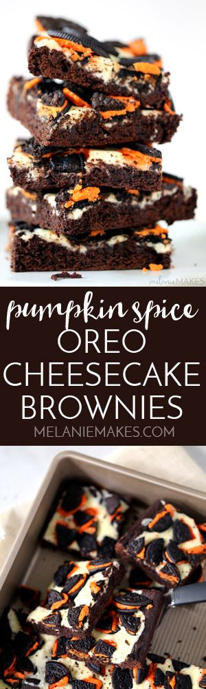 Brownie batter is spiked with pumpkin spice extract before being dolloped with cheesecake filling and sprinkled with crumbled Oreos. These Pumpkin Spice Oreo Cheesecake Brownies are a decadent chocolate treat with the warmth of autumn spices. So easy and so delicious!