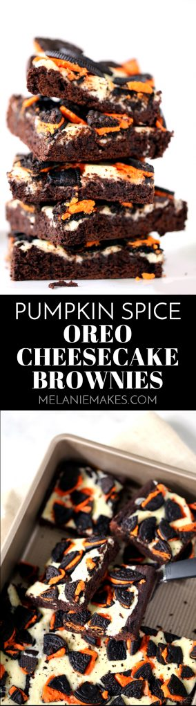 These Pumpkin Spice Oreo Cheesecake Brownies are a decadent chocolate treat with the warmth of autumn spices.  The brownie batter is spiked with pumpkin spice extract before being dolloped with cheesecake filling and sprinkled with crumbled Oreos.  So easy and so delicious!