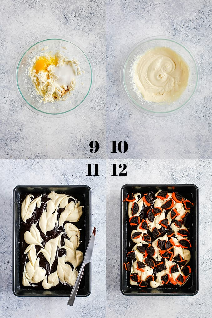 Step by step photos of how to create Pumpkin Spice Oreo Cheesecake Brownies on a white background.