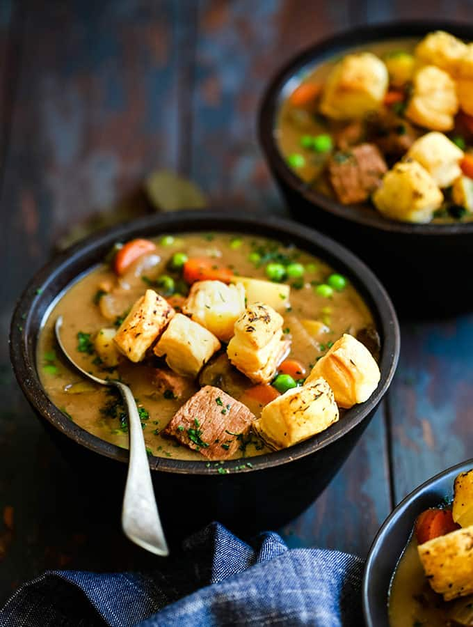 Slow Cooker Beef and Guinness Pot Pie Soup with Thyme Puff Pastry Croutons
