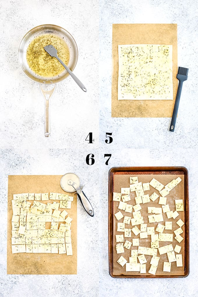 How to prepare Slow Cooker Beef and Guinness Pot Pie Soup with Thyme Puff Pastry Croutons, steps 4-7.