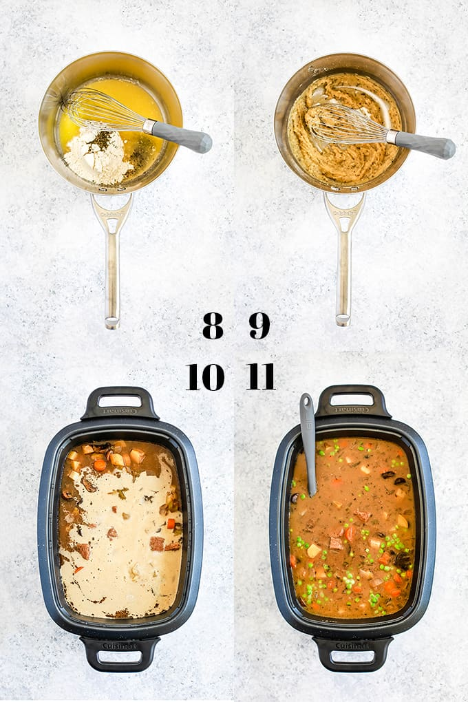 How to prepare Slow Cooker Beef and Guinness Pot Pie Soup with Thyme Puff Pastry Croutons, steps 8-11.