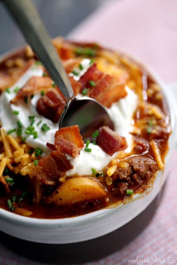 potatoes make the base of this hearty Stuffed Baked Potato Chili ...
