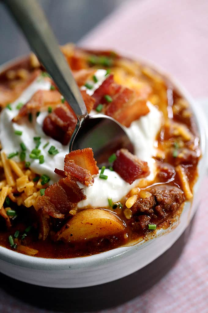 Stuffed Baked Potato Chili | Melanie Makes