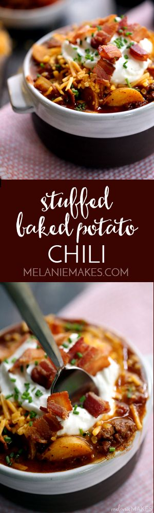 Bacon, ground beef, buttery Yukon Gold potatoes and fire roasted potatoes make the base of this hearty Stuffed Baked Potato Chili. Before being served, each bowl is then topped with cheddar cheese, even more bacon, sour cream and chives to create this one of a kind bowl of comfort food.