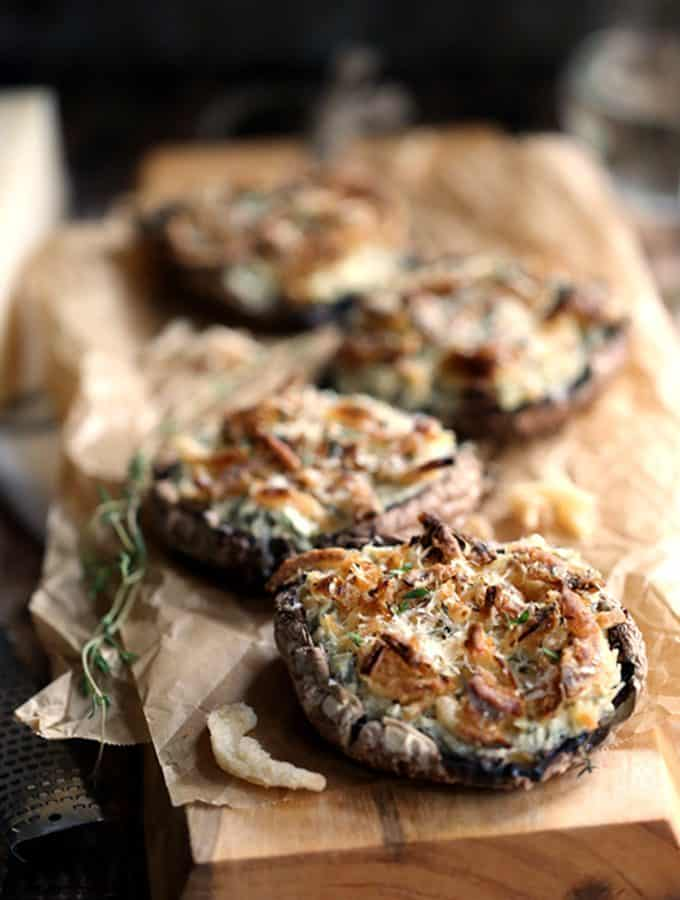 Artichoke and Spinach Stuffed Portobellos