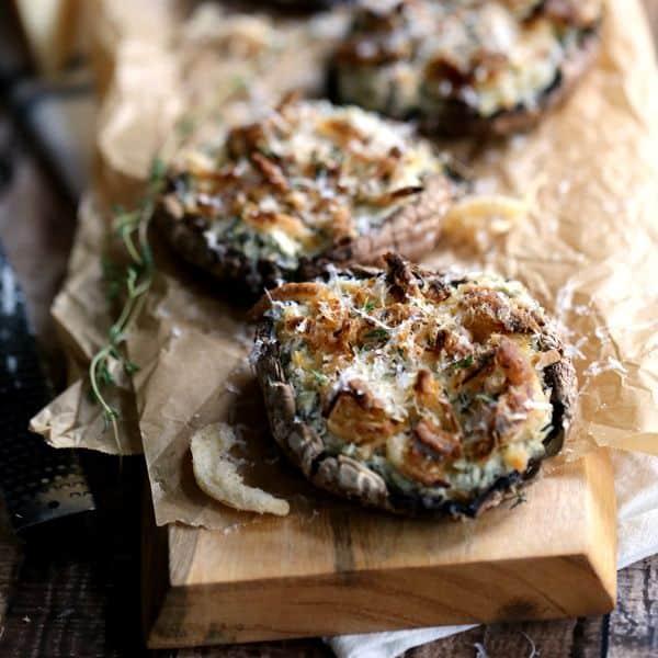 Artichoke and Spinach Stuffed Portobellos