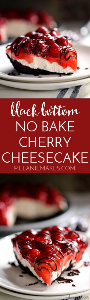 Black Bottom No Bake Cherry Cheesecake - Melanie Makes