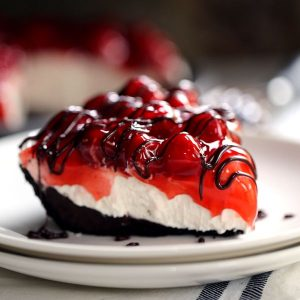 Black Bottom No Bake Cherry Cheesecake