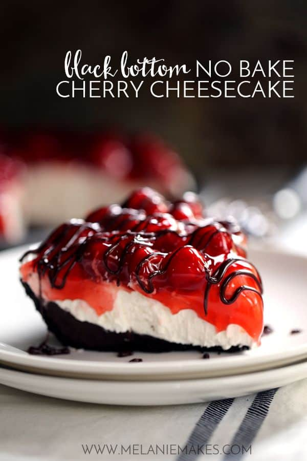 No one will ever guess this Black Bottom No Bake Chocolate Cheesecake takes just 10 minutes to prepare. A puddle of chocolate ganache fills an Oreo crust that is then topped with no bake cheesecake filling. Cherry pie filling creates a colorful contrast over it all before being drizzled with even more chocolate ganache.