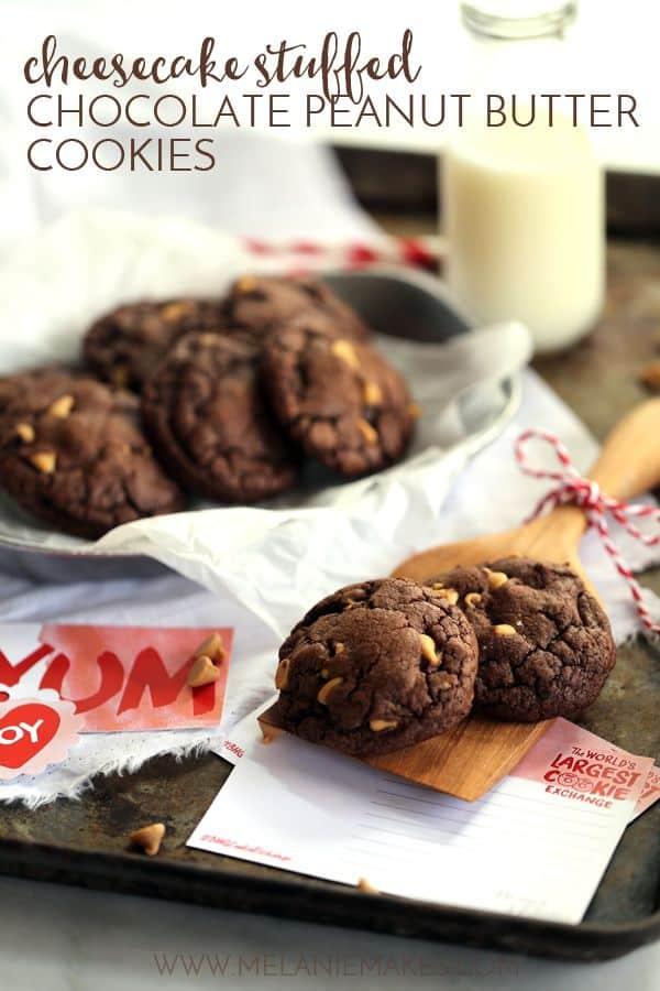Cheesecake Stuffed Chocolate Peanut Butter Cookies | Melanie Makes