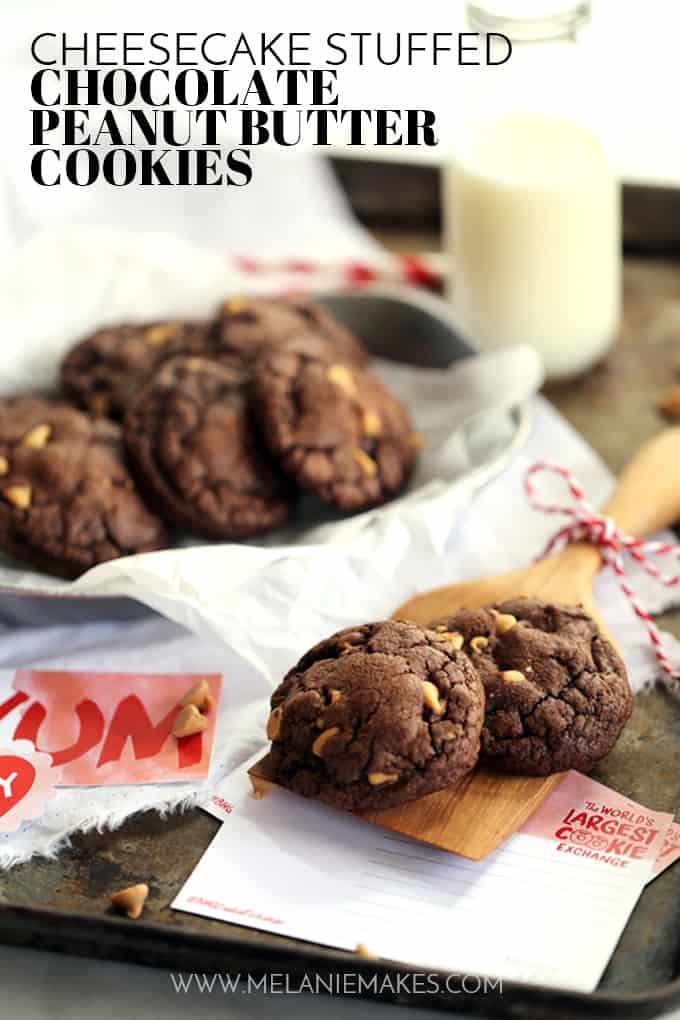 Decadent, almost brownie like, chocolate cookies are studded with peanut butter chips before beingstuffed with a rich, cheesecake filling. These Cheesecake Stuffed Chocolate Peanut Butter Cookies are sure to disappear from your cookie jar at record speed.