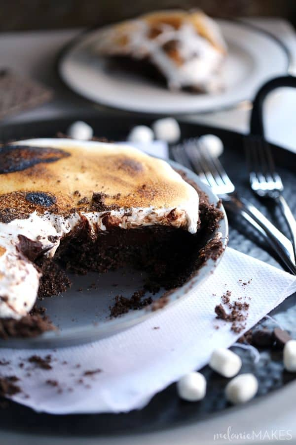 Double Chocolate No Bake S'mores Pie - Melanie Makes