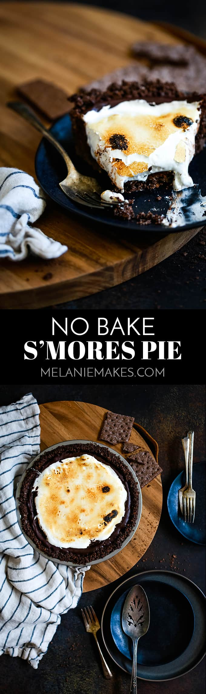 This Double Chocolate No Bake S'mores Pie is filled with chocolate ganache before being topped with a torched cloud of marshmallow fluff. #nobake #pie #smores #chocolate #easyrecipe #marshmallows