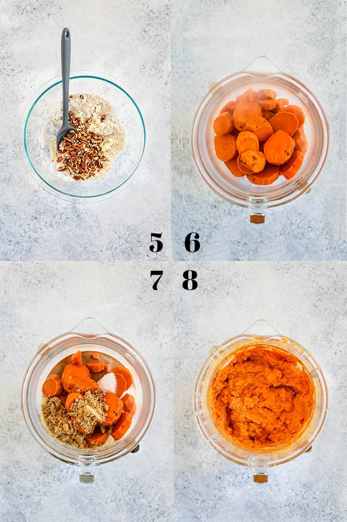 Step by step photos of steps 5-8 of how to create Make Ahead Sweet Potato Casserole.