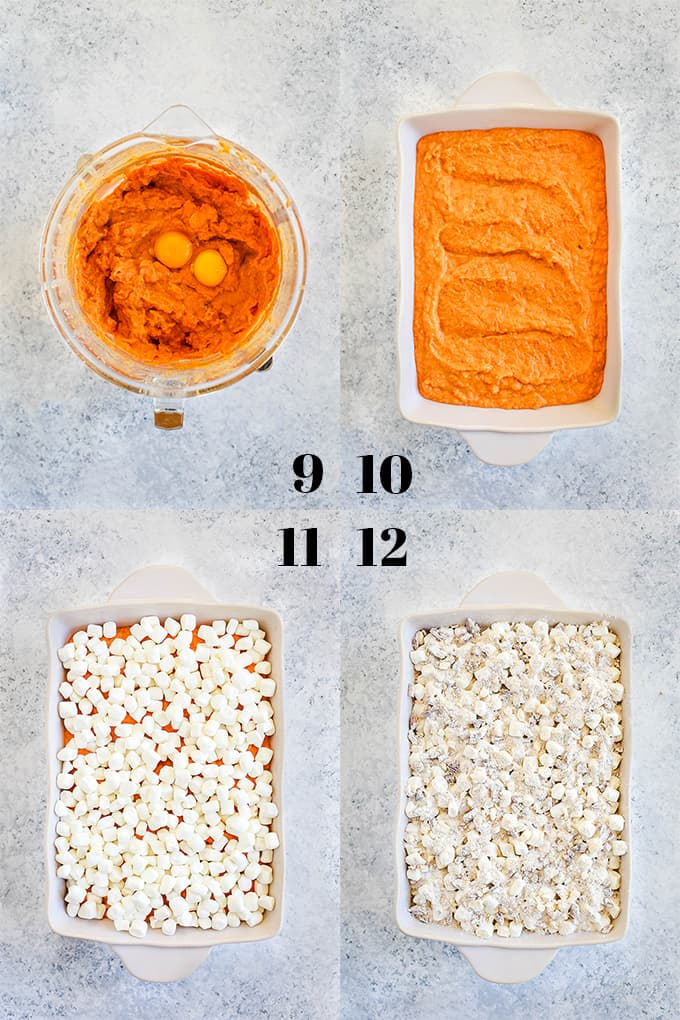 Step by step photos of steps 9-12 of how to create Make Ahead Sweet Potato Casserole.