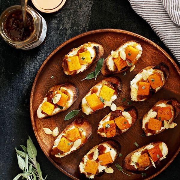 Roasted Butternut Squash Bruschetta | Melanie Makes