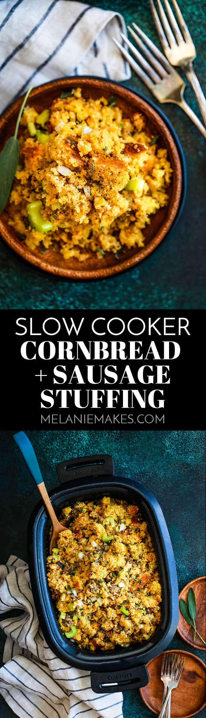This Slow Cooker Cornbread and Sausage Stuffing knocks the socks off anything you'd buy from a box at the grocery store, yet is just as easy to prepare.