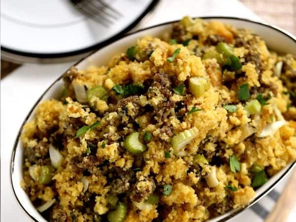 Slow Cooker Cornbread and Sausage Stuffing | Melanie Makes
