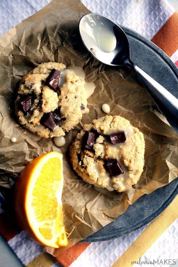 These Blue Moon Wassail Chocolate Chunk Cookies with Orange Glaze take just 15 minutes to prepare and are perfect for holiday cookie exchanges. The classic Blue Moon and orange flavors are combined with chocolate chunks and Christmas wassail spices to create a cookie that's full of warmth. An easy two ingredient orange glaze is drizzled on top as the perfect finishing touch.
