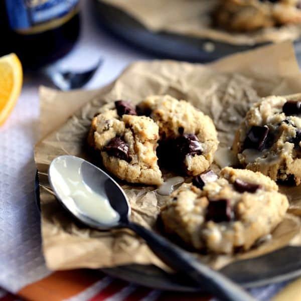 Blue Moon Wassail Chocolate Chunk Cookies with Orange Glaze