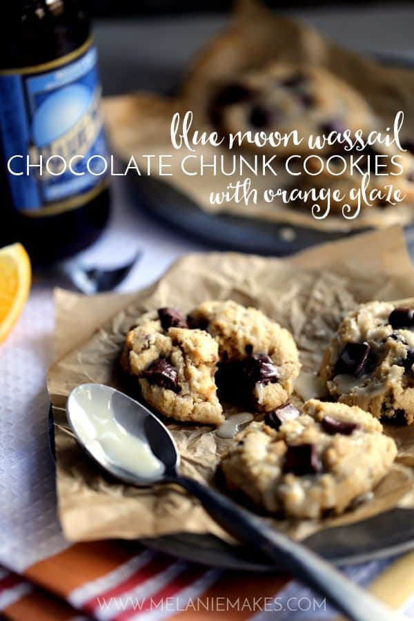 Blue Moon Wassail Chocolate Chunk Cookies with Orange Glaze | Melanie Makes