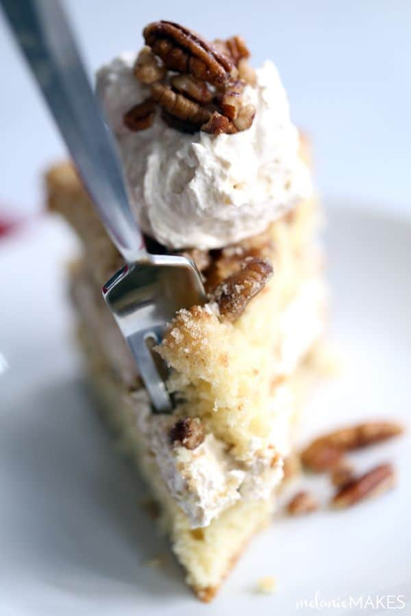 Candied Pecan Sour Cream Coffee Cake with Eggnog Cream Filling ...