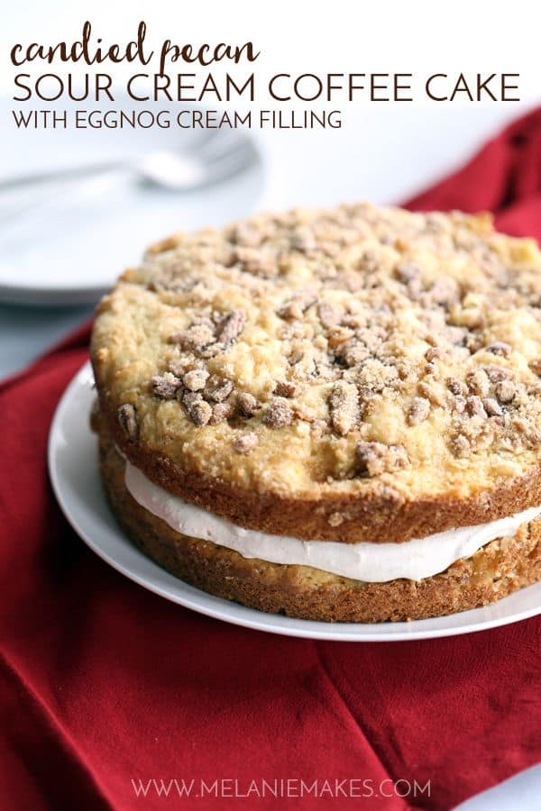 Candied Pecan Sour Cream Coffee Cake with Eggnog Cream Filling | Melanie Makes