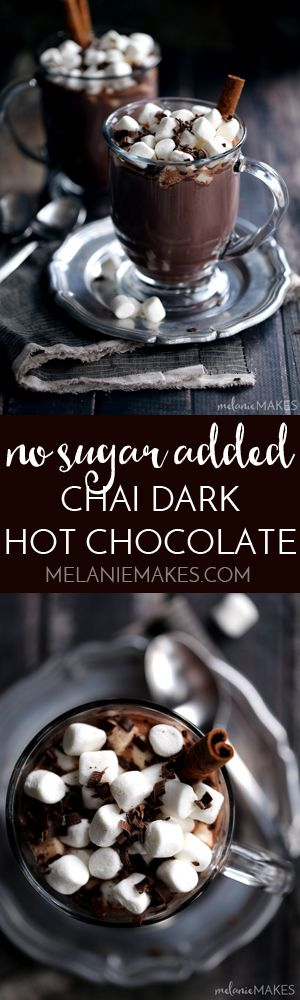 My coffee house worthy No Added Sugar Chai Dark Hot Chocolate combines dark chocolate and and the warming spices of cinnamon, ginger, cloves, cardamom and nutmeg that's sure to beat winter's chill. #SplendaSweeties #SweetSwaps
