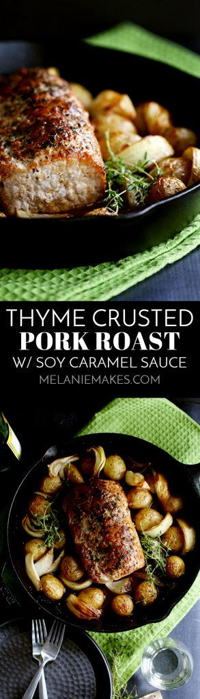 This Thyme Crusted Pork Roast with Soy Caramel Sauce is dressed to impress! A crust of pepper, salt and thyme envelopes the pork that is then roasted alongside baby Yukon Gold potatoes and onion wedges. A waterfall of soy caramel sauce is then poured over everything before it's returned to the oven to finish roasting. #thyme #pork #porkroast #potatoes #onions #dinner #easydinner