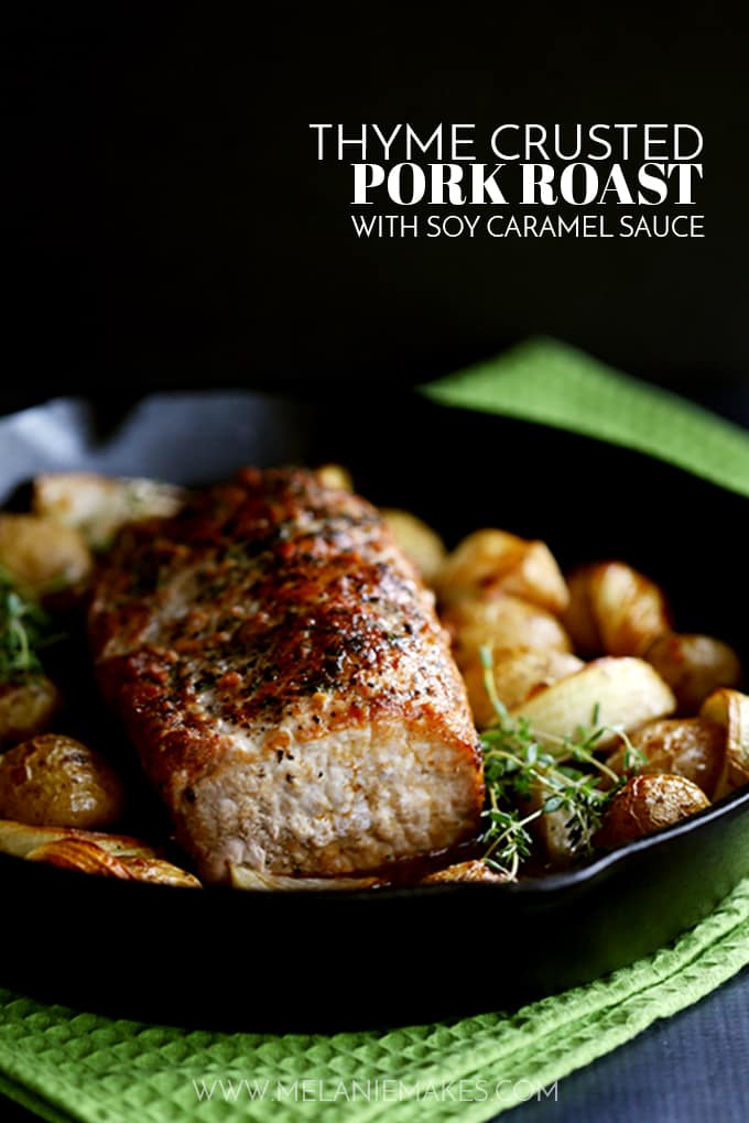 ThisThyme Crusted Pork Roast with Soy Caramel Sauce is dressed to impress! A crust of pepper, salt and thyme envelopes the pork that is then roasted alongside baby Yukon Gold potatoes and onion wedges. A waterfall of soy caramel sauce is then poured over everything before it's returned to the oven to finish roasting.