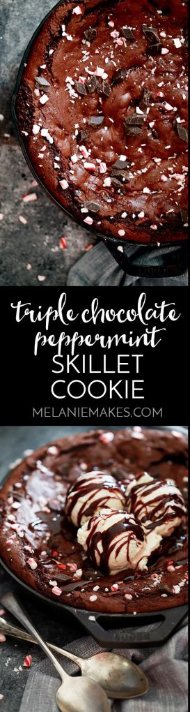 This decadent Triple Chocolate Peppermint Skillet Cookie not only makes a great holiday dessert but because it takes just 15 minutes to prepare, it's also suitable for any weeknight as well. Three types of chocolate, including a dark chocolate peppermint sauce, combine to form this easy, delicious dessert.