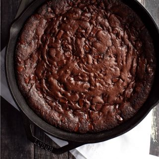 Triple Chocolate Peppermint Skillet Cookie | Melanie Makes