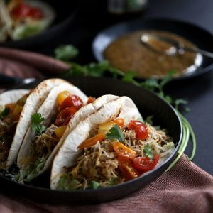 Slow Cooker Honey Mustard Pork Tacos with Candied Bacon