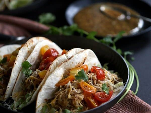 Slow Cooker Honey Mustard Pork Tacos with Candied Bacon | Melanie Makes