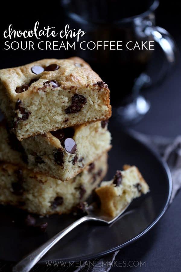 Chocolate Chip Sour Cream Coffee Cake | Melanie Makes