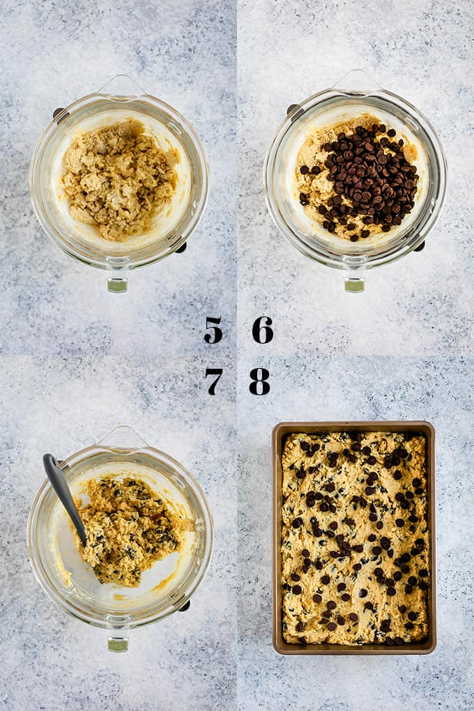 Steps on how to create a Chocolate Chip Sour Cream Coffee Cake, steps 5-8.