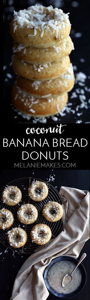 A tropical twist on a long time favorite. These Coconut Banana Bread Donuts are destined to transport you to your happy place without getting up from your breakfast table. A banana bread batter is spiked with coconut before being baked to donut perfection. After cooling, a banana glaze is spooned over each donut before a snow shower shredded coconut takes place.