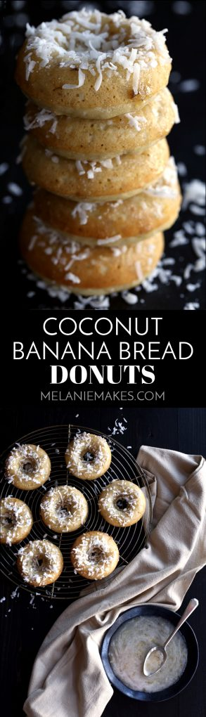 A tropical twist on a long time favorite. These Coconut Banana Bread Donuts are destined to transport you to your happy place without getting up from your breakfast table. A banana bread batter is spiked with coconut before being baked to donut perfection. After cooling, a banana glaze is spooned over each donut before a snow shower shredded coconut takes place. #banana #bananabread #coconut #donut #glaze #breakfast #brunch #bakeddonuts