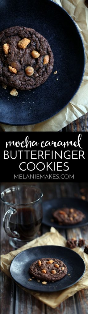 Looking for the dreamiest cookie to fill your cookie jar with? Look no further than my Mocha Caramel Butterfinger Cookies. A chewy, chocolatey cookie spiked with coffee and studded with caramel and Butterfinger candy bars.
