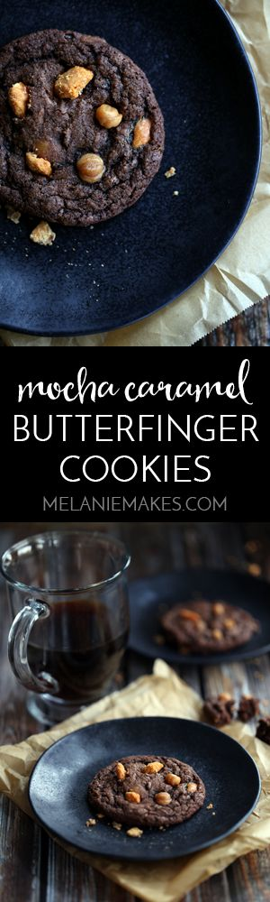 Looking for the dreamiest cookie to fill your cookie jar with? Look no further than my Mocha Caramel Butterfinger Cookies. A chewy, chocolatey cookie spiked with coffee is then studded with bits of caramel and pieces of Butterfinger candy bars.