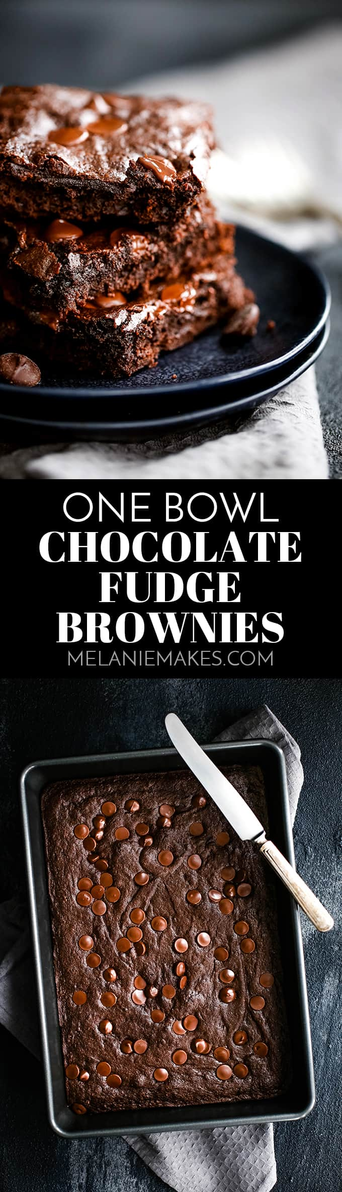 A single bowl and just ten ingredients is all that stands in the way between you and these deliciously decadent One Bowl Chocolate Fudge Brownies. #brownies #fudge #chocolate #onebowl #easyrecipe #dessertrecipes