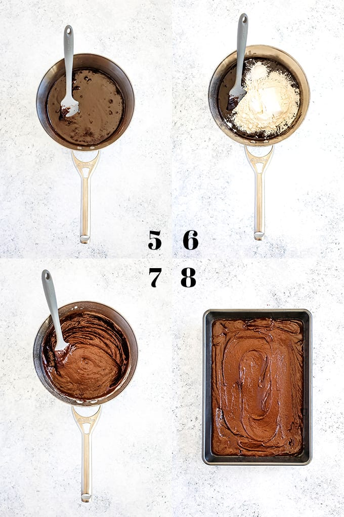 How to prepare One Bowl Chocolate Fudge Brownies, steps 5-8.