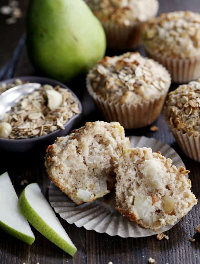 Pear Macadamia Oatmeal Muffins | Melanie Makes