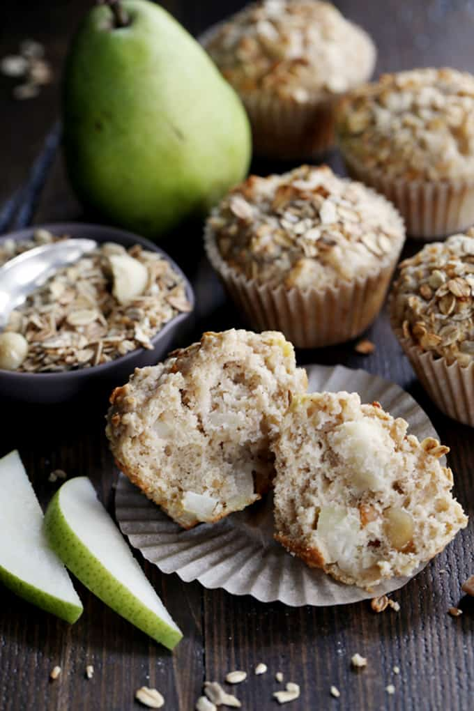 Grab a bowl and a spoon, that's all you need to mix up these Pear Macadamia Oatmeal Muffins.  Just ten minutes of prep - the majority is peeling and dicing a pear! - and seven ingredients later and you'll find yourself sliding a muffin tin full of batter into the oven.