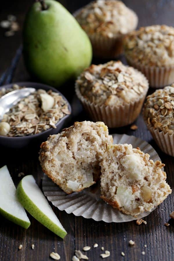 Grab a bowl and a wooden spoon, that's all you need to mix up these Pear Macadamia Muffins. Just ten minutes of prep - the majority is peeling and dicing a pear! - and seven ingredients later and you'll find yourself sliding a muffin tin full of batter into the oven.