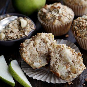 Pear Macadamia Oatmeal Muffins
