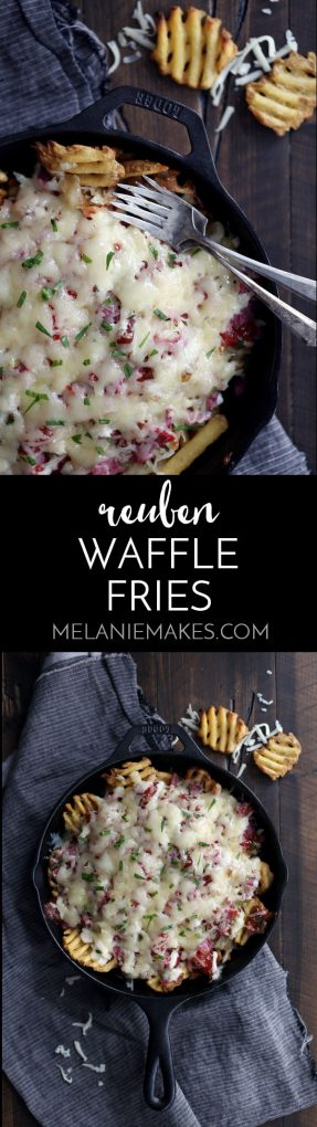 These Reuben Waffle Fries are perfect for St. Patrick's Day, game day or any day when comfort food happens to be on the agenda. Crispy waffle fries are layered with sauerkraut, corned beef, ketchup, relish and garlic horseradish before being smothered with a mountain of Swiss cheese.